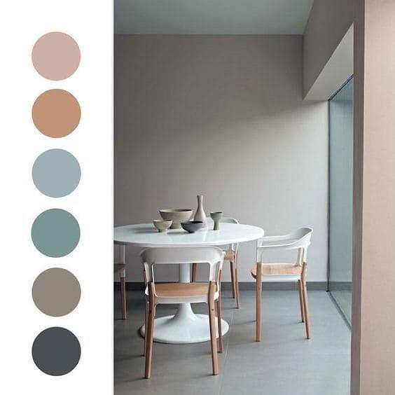 Mistura de cores: paleta de cores neutras e pasteis para sala de jantar