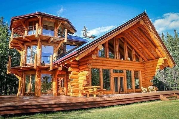 Wood frame: cabana com janelas e portas de vidro (fonte: @awesomewoodworker)