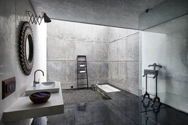 Casas mais extraordinárias do mundo: A casa na Rocha Líquida - banheiro