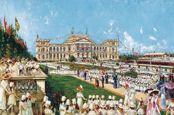 Parque da Independência: Tela de 1912 retrata o jardim do Parque da Independência (autor: Augustin Salina y Teruel)