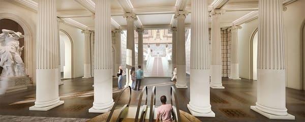 Parque da Independência: projeto 3D do novo hall de entrada com escada rolante (foto: escritório H+F Arquiteto)