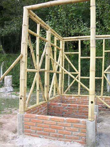 Casa de bambu: projeto de bambu e alvenaria - fundação