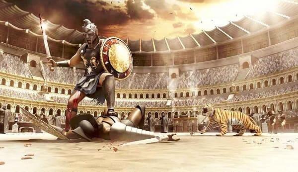 Coliseu de Roma: animação retrata uma batalha de gladiadores