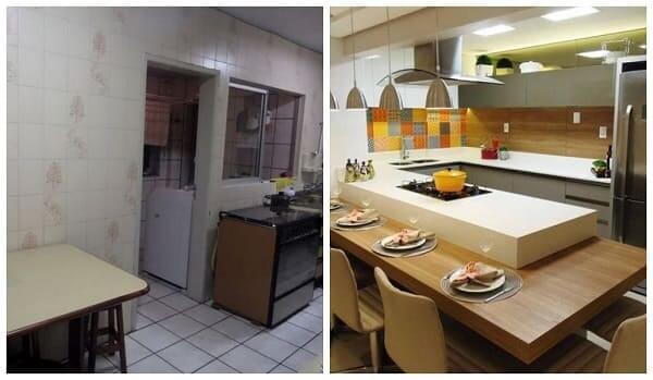 Reforma de casa: antes x depois Cozinha (projeto: Marina Turnes)