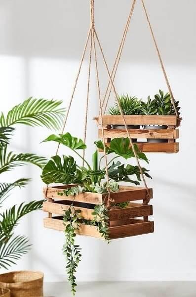 Urban Jungle: caixotes pendurados é alternativa estilosa e barata (foto: Pinterest)