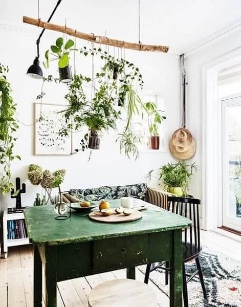 Urban Jungle: galho de árvore é opção barata e sustentável (foto: Pinterest)