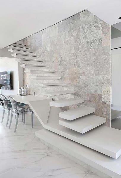 Escada de concreto flutuante com balcão integrado (foto: Pinterest)