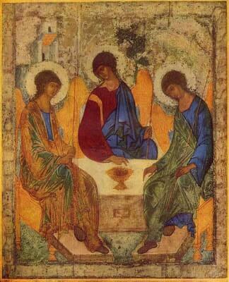 """Arquitetura Bizantina: ícone """"A Trindade"""" de André Rublev"""