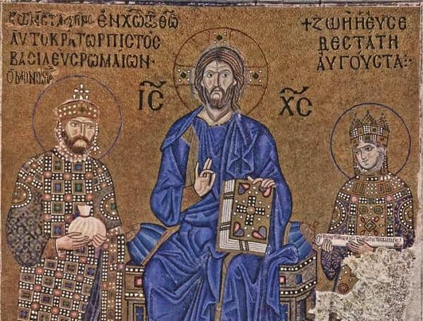Arquitetura Bizantina: mosaico da Imperatriz Zoe na Catedral de Santa Sofia