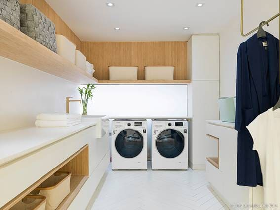 Dekton é ideal para lavanderia pois não absorve umidade