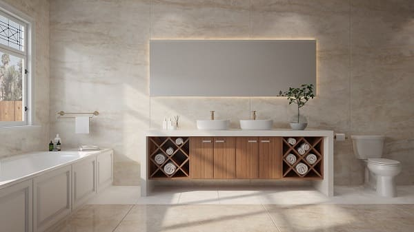 Dekton de tom neutro deixa banheiro elegante e aconchegante