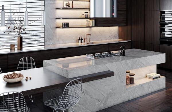 Dekton em bancada de cozinha com recorte na parte inferior (foto: Architonic)