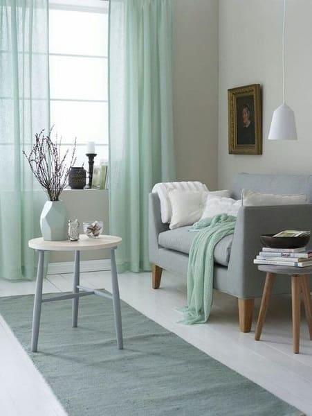 Neo Mint com cores neutras deixa ambiente elegante e confortável (foto: Pinterest)