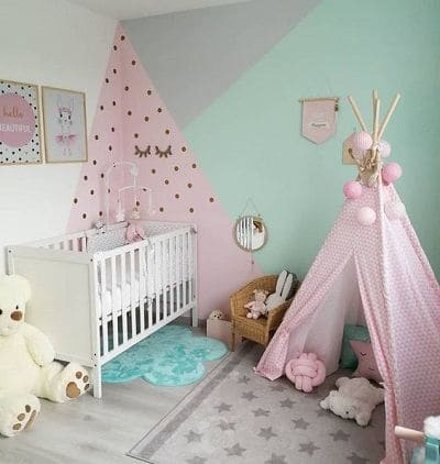 Neo Mint: quarto de bebê com Neo Mint e Rosa