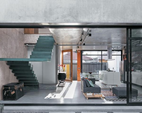 Concreto armado: sala de estar integrada com cozinha (foto: casa.com.br)