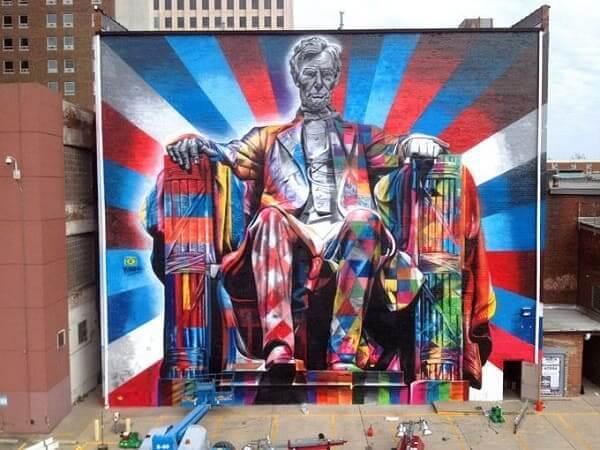 Kobra grafite: Abraham Lincoln, em Lexington, Kentucky, EUA