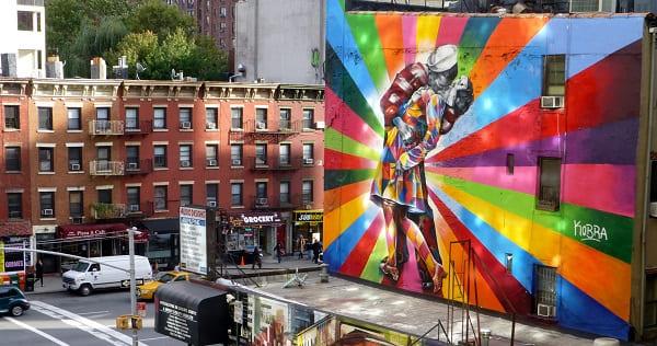 Kobra grafite: O Beijo, na High Line, em Nova York, EUA