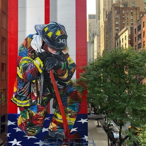 Kobra grafite: mural de bombeiro em Nova York