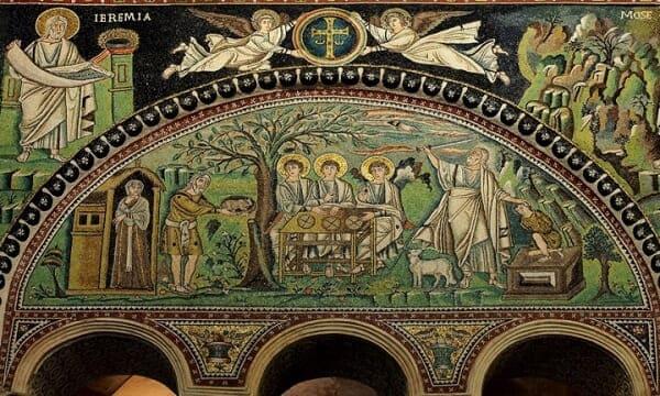 Mosaico bizantino: Sacrifício de Isaac, mosaico do século VI