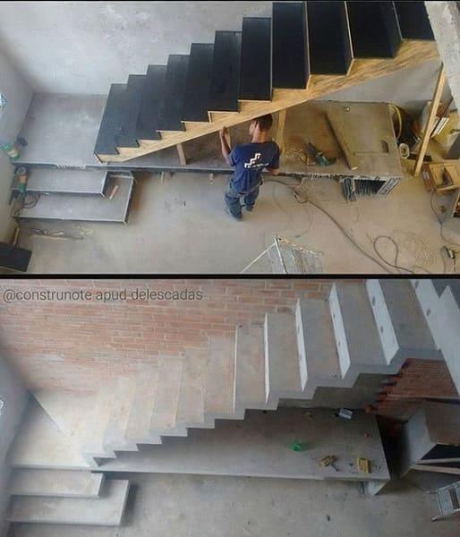 Madeirite plastificado usado em escada de concreto