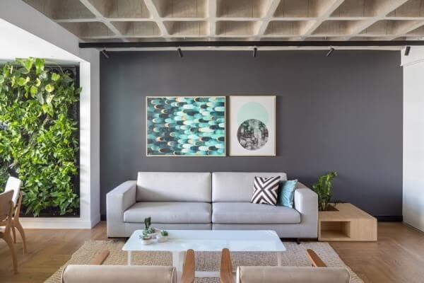 Laje nervurada em sala de estar com decoração moderna (projeto: CoDA Arquitetos)