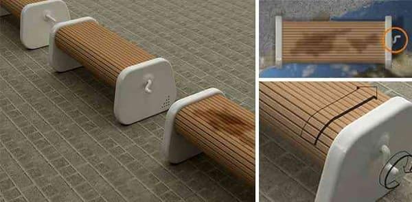 Mobiliário Urbano: Três giros na manivela deixam esses bancos com o lado seco prontos para uso (foto: Mundo Gump)