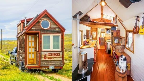 Tiny House de Wood Frame com interior branco (foto: YouTube)