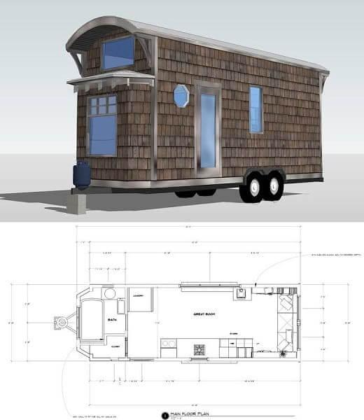 Tiny House: exemplo de planta baixa (foto: Pinterest)