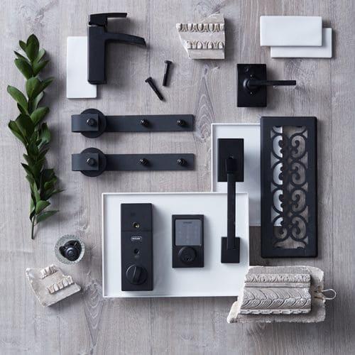 Moodboard com materiais monocromáticos (foto: Pinterest)