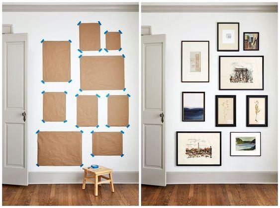 Parede de Quadros: papel colado na parede ajuda a criar composição (foto: Isa Gomes)