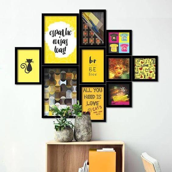 Parede de Quadros: composição de quadros amarelos (foto: Top Quadros)