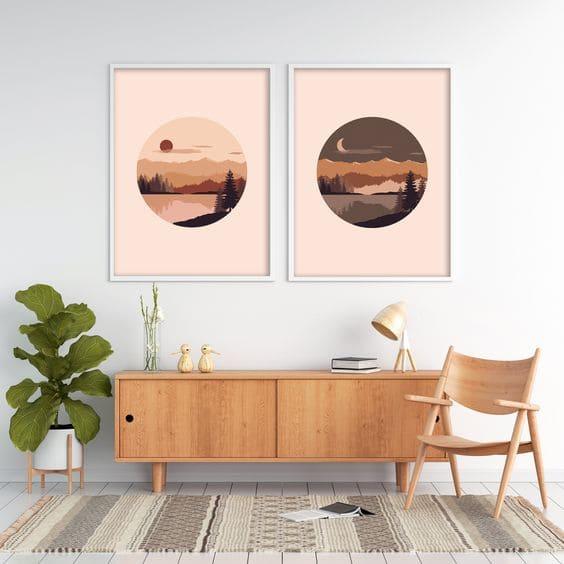 Parede de Quadros: dupla de quadros é coringa na decoração (foto: pinterest)