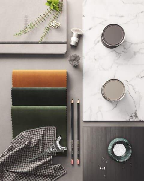 Moodboard com tecido e mármore (foto: Pinterest)