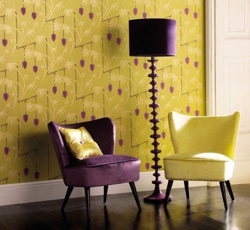 Círculo cromático: cores complementares - papel de parede amarelo e roxo (foto: Pinterest)