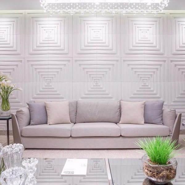 Placa cimentícia decorativa branca (foto: Tua Casa)