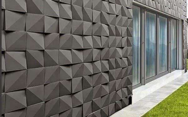 Parede de placa cimentícia decorativa em fachada (foto: LIGA)