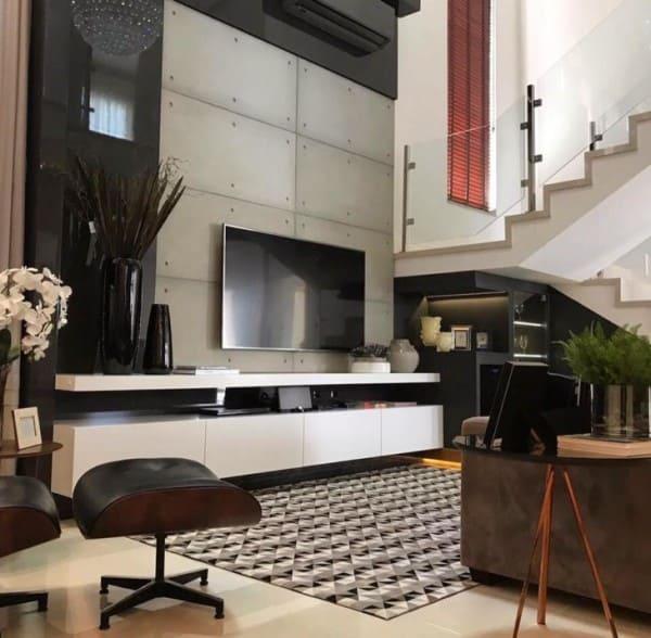 Placa cimentícia em sala de estar (foto: tua casa)
