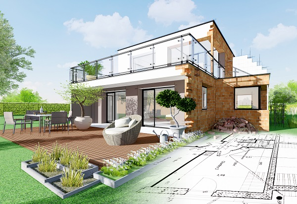 Imagem de projeto de casa comercial em 3D