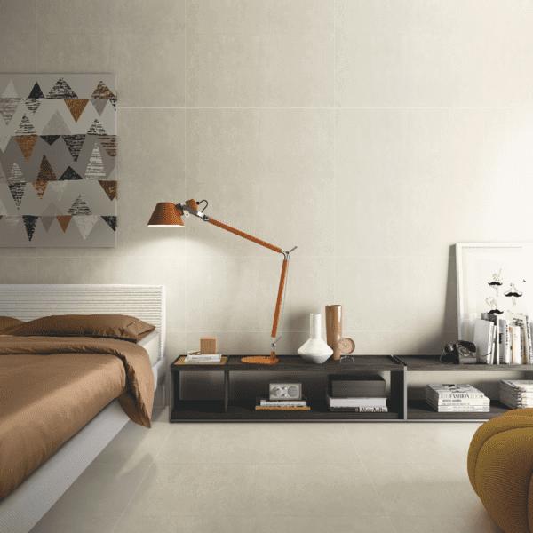 Porcelanato para quarto com tom neutro (foto: Biancogres)