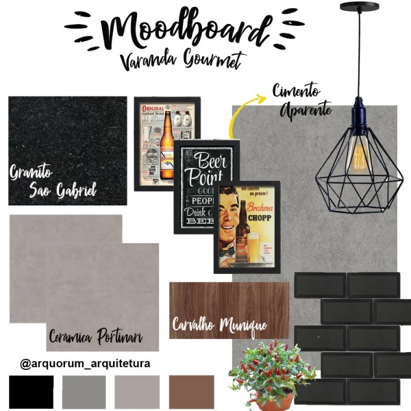 Moodboard: Varanda Gourmet (projeto: Arquorum Arquitetura)