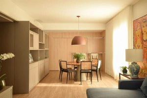 madeira clara no piso e na parede projeto A.M Studio Arquitetura