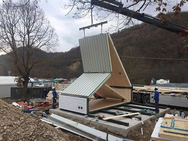 Arquitetura modular Projeto da casa M.A.Di com estrutura dobrável
