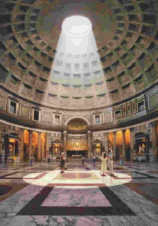 A cúpula aberta do Panteão Roma, também chamada de óculo, possui 9 metros de diâmetro