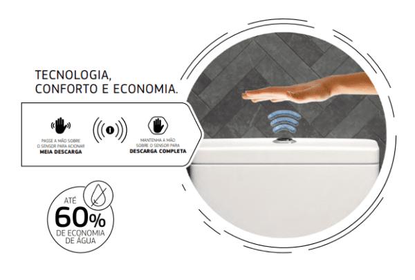 Como instalar vaso sanitário com caixa acoplada: caixa acoplada com acionamento touchless da Deca (foto: Deca)