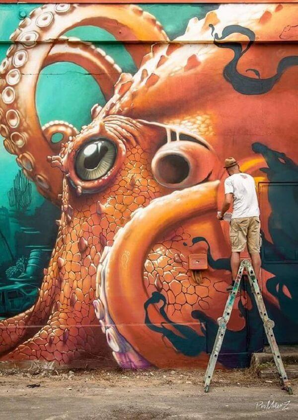 Arte urbana em grafite criada do artista Kalouf