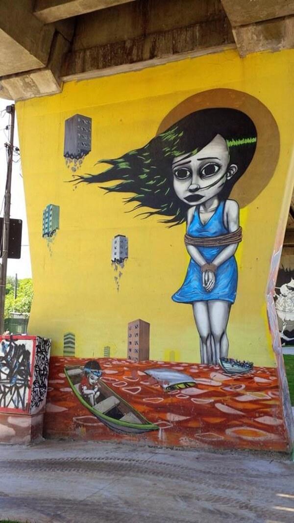 Arte urbana: mural feito pelo artista Tinho no bairro de Santana – São Paulo