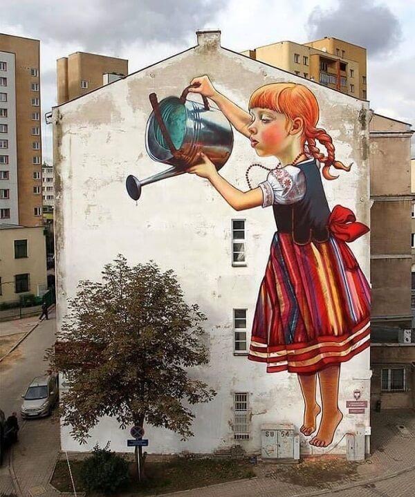 Arte urbana: grandioso mural criado pela artista Natalia Rak