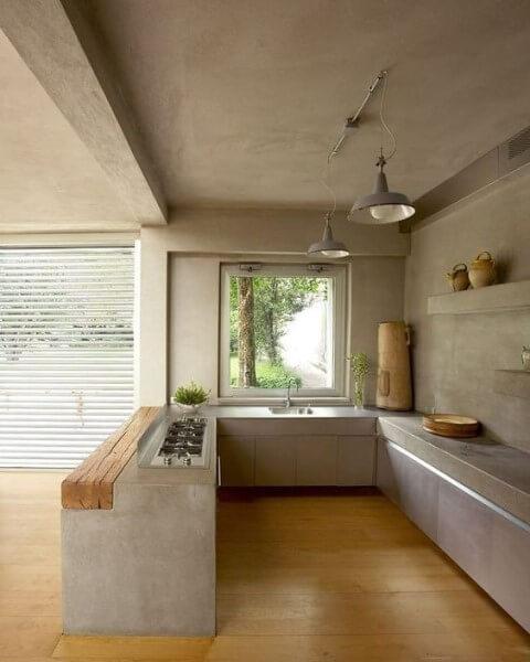 Móveis de alvenaria: cozinha de alvenaria em concreto aparente (foto: Pinterest)