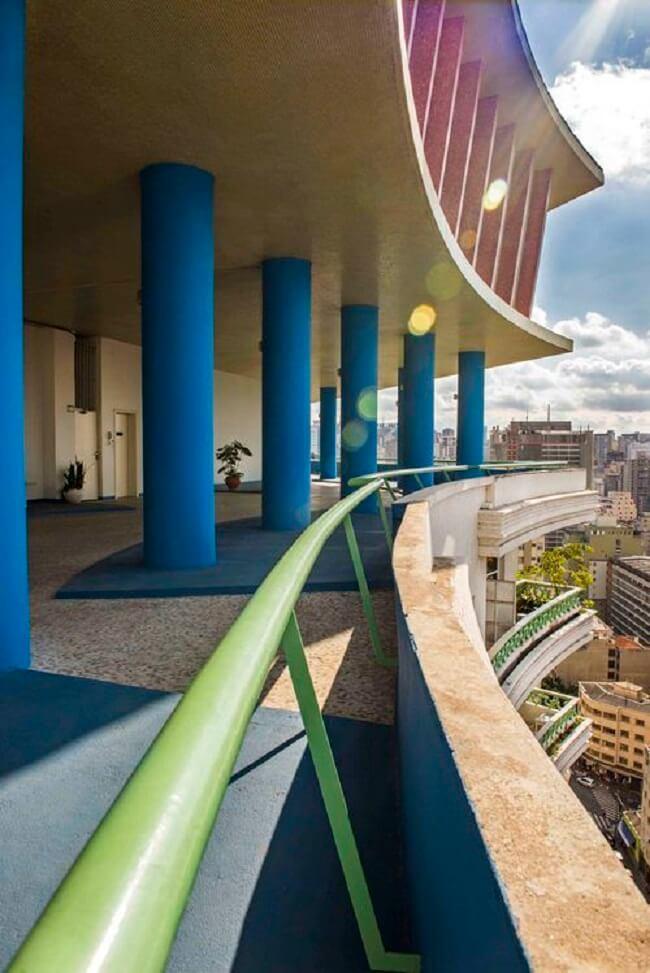 A cobertura do Edifício Viadutos oferece uma magnífica visão 360 graus da cidade. Fonte: Prédios de São Paulo