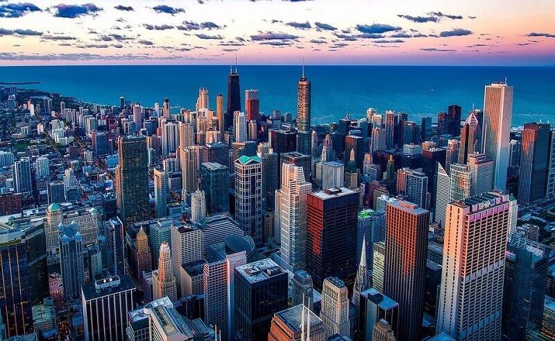 Verticalização urbana: Cidade de Chicago. Fonte: Pixabay